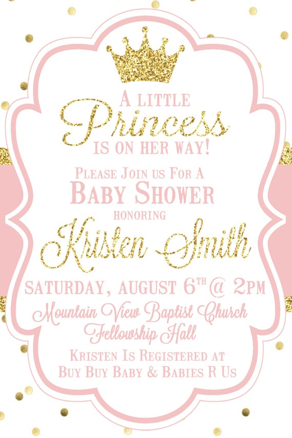 Little Princess Baby Shower Invitation Pink and Gold Baby