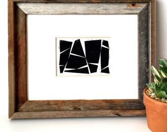 Four Minimalist Abstract Shapes - Modern Art - Minimalist Art - Wall Art - Linocut Block Print - Original or Digital Print