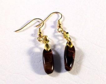 Tiger Eye Stone and Gold Earrings Gemstone