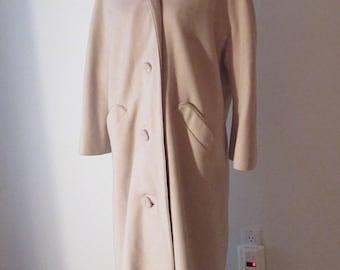 Vintage 50's Pristine 100% Cashmere Winter Swing Coat W/Matching Gloves Bone S/M/L Excellent Pristine Condition