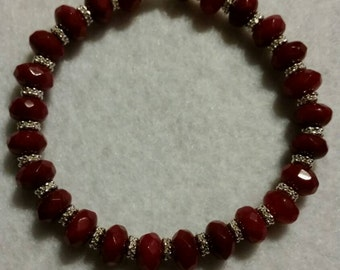 Faceted Red Agate bracelet.
