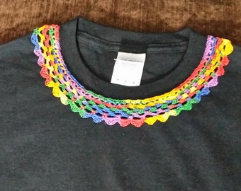 Rainbow Crochet Collar on Black T-shirt. Unique design