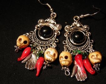 Day of the Dead Earrings, Sterling Silver Skull Earrings, Day of the Dead Jewelry, Dia de los Muertos, Halloween Earrings Goth