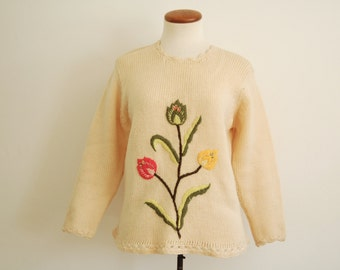 cream floral sweater - 50s 60s vintage natural white chunky wool knit scalloped pullover tulip flower boho mid century jumper small medium
