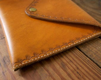 Stamped Leather Envelope Clutch