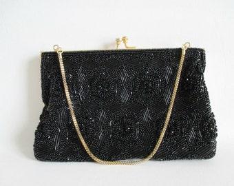 Black Beaded Evening Bag Purse Handbag Kiss Clasp