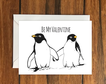Be My Valentine Penguin Blank greeting card,  A6