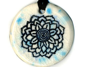 Radiant Flower Ceramic Necklace in Blue