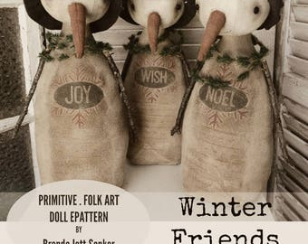 Snowman EPATTERN-primitive snowman cloth doll craft digital download sewing pattern-PDF