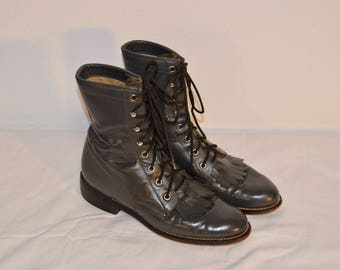 Women Size 6 Vintage Justin Western Gray Lace Up Boots