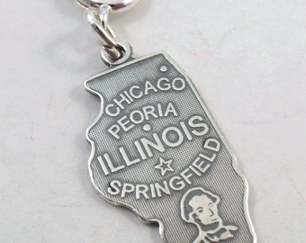 Sterling Silver State of Illinois Charm on 8mm Spring Ring-Fits European and Traditional Charm Bracelets - 0795