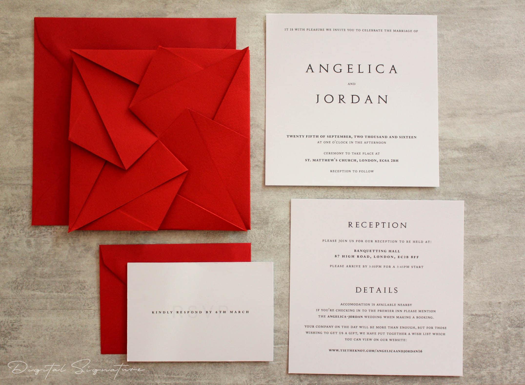 Scarlet Red Origami Wedding Invitation Suite RSVP Envelope
