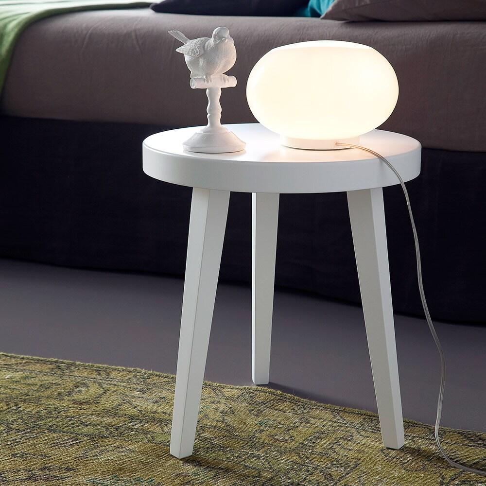 Comodino tavolino o seduta piano rotondo e 3 gambe in legno