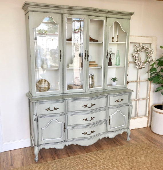 French Provincial Vintage China Cabinet - Shabby Chic Furniture - Painted Dining Room Breakfront Cabinet for Storage of Dinnerware