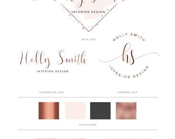 Watercolor logo, Logo design, logo, Branding package, Mini branding kit, Rose gold logo, Watermark Logo, Photography Logo, Diamond Logo
