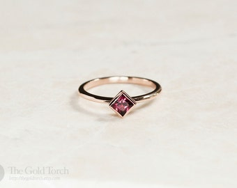 Gift for Mom, Square Princess Cut Rhodolite Garnet Gold or Platinum 1.6mm Stackable Ring (Choice of Stones)