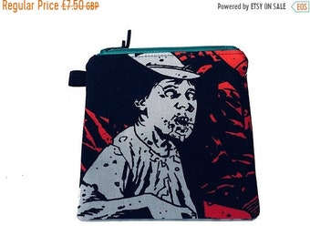 SALE 20% OFF TWD Zombie Multi Purpose Pouch, Small Zipped Bag, Makeup Bag, Gadget Bag, Handmade in the Uk
