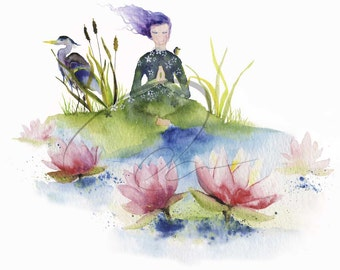 Lotus - Watercolor Art Print Woman Meditation Water Flower Energy Peaceful Heron Lotus Flower Available in Paper and Canvas by Olga Cuttell