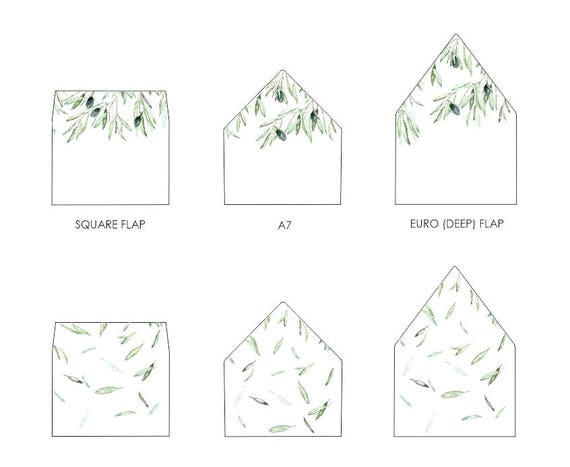 Olive Leaves Envelope Liner Template A Euro Flap Square