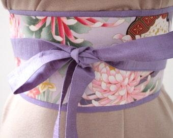 ON SALE - 39 instead of 45 - Periwickle purple Dupioni silk - Obi Belt - Japanese belt  -  Springtime Dreamscape: Lilac/Gold Metallic
