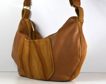 Brown, cross-body, hobo style, up cycled and new leather bag