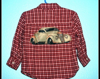 Boys Rockabilly Hot rod Plaid Shirt....size 2