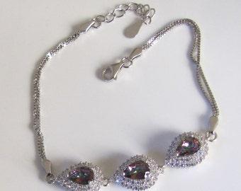 Adjustable bracelet Silver 925 purple stones and white - women Zirconium Oxide - evening jewelry Mystic Topaz jewelry