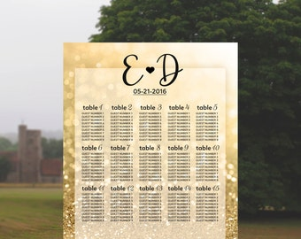 Wedding Seating Chart Wedding Table Plan Gold Wedding Sign Wedding Table Chart Wedding Reception Printable Wedding Guest List Print Glitter