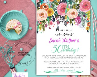 30th Birthday Party Invitation Template, DIY Birthday Watercolor Floral Invite Template, editable PDF template, instant download, boho roses