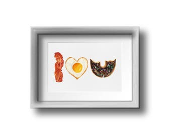 Bacon, Egg, and Donut Print