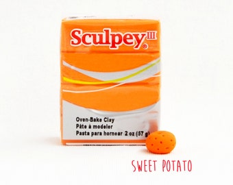 Sweet Potato Polymer Clay - Orange colour - Sculpey III Oven Bake Modelling Clay