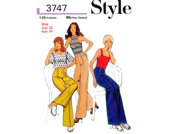 70s Rare Wide Leg Sailor Trousers with Three Knit Tops, Bust 34 Waist 26.5 Hip 36, Style 3747, Vintage Sewing Pattern Reproduction