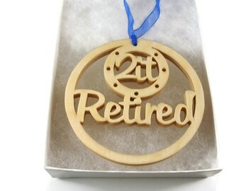 Retirement Christmas Ornament Handmade From Birch Wood By KevsKrafts