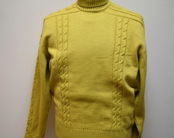 VTG DAMON Italy Chartreuse Green Gold Wool Cable Front Pullover Sweater Size L