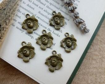 SALE 6x Rose Charms, Antique Brass Pendants C216