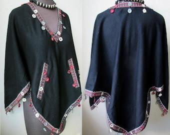 Rajastani Pasmina Poncho Kutch Embroidered Trim with Mirror Dangles