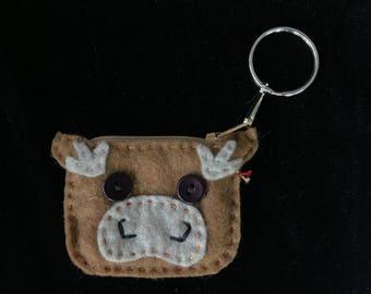 Moose/ Reindeer Tiny Change Purse