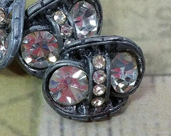 PEWTER and RHINESTONE BUTTONS, Set of 4, Heavily Embellished, 1950's, Vintage Elegant, Fancy Sewing, Clothing Supply