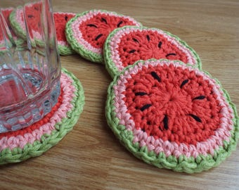 Crocheted Watermelon Coasters (Set of 6)