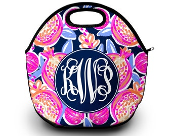 Lilly Pulitzer Inspired Lunch Box | Monogram Lunch Bag | Gift For Her | Lunch Bag for Women