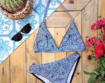 SALE! size S PORTO bikini set - strappy triangle bikini, blue tile print RPET recycled polyester fabric, handmade swimsuit, ethical clothing