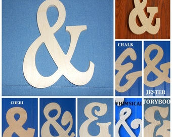 """6"""" AMPERSAND, """"&"""", AND Unpainted Wooden Shapes Wall Hanging Room Decor Family Crafts"""
