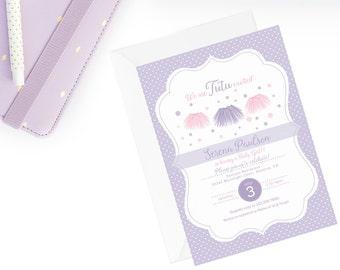 Tutu Invitation, Tutu Baby Shower Invitation, Tutu Baby Shower Invite, Purple Tutu Party, Baby Girl