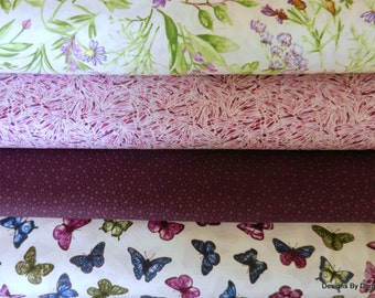 Fabric 4 Piece, 1/2 yard Bundle Quilt Fabric, Butterflies-Butterfly Wings-Flowers-Dark Purple, Sewing-Quilting-Craft Supplies