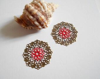 x 2 prints bronze 3.5 cm red enameled flower glitter