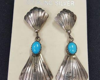 Sterling Silver Dangle earrings Sleeping Beauty Vintage