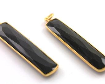 Natural Black Onyx, Bezel Long Drop Gemstone, Gold Vermeil ,  7x34mm 1 Piece, (BZC9022/BNX)
