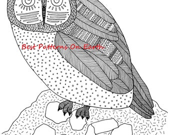 Owl Coloring Page - Zen Owl - Aztek Aztec Feathers - Adult Coloring Pages - Kids Coloring Book PDF