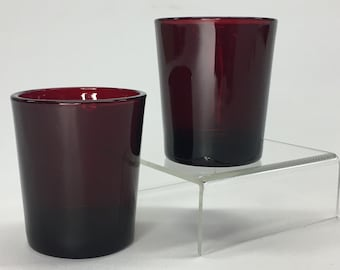 Pair of Vintage Anchor Hocking Royal Ruby Red Glass Tealight Votive Candle Holders