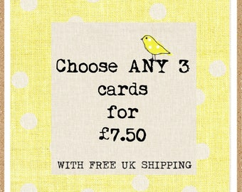 Choose any 3 Juniper Tree greetings cards - your choice - greetings cards - any 3